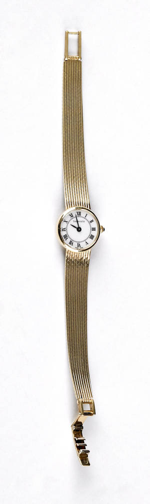 Ladies Tiffany  Co wrist watch with 14K yellow gold case and tapered mesh band