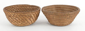 Two Pennsylvania rye straw baskets 19th c