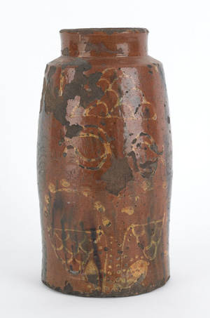 Pennsylvania redware crock early 19th c