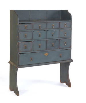 New England painted pine apothecary cupboard mid 18th c