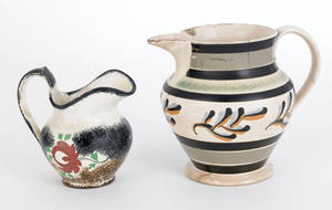 Black and brown rainbow spatter creamer 19th c
