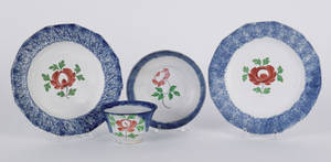 Pair of blue spatter plates 19th c