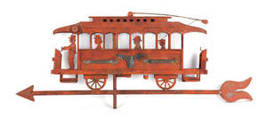 American sheet copper trolley weathervane early 20th c