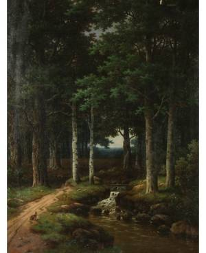 RUSSIAN 19TH C ARTIST Brook in the Forest