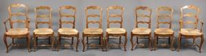 Set of 8 French Country Walnut Dining Chairs