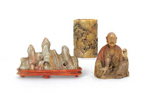 Three Chinese carved soapstone figures