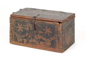 Continental carved lock box