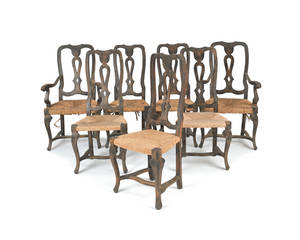 Set of seven Queen Anne style dining chairs