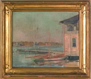 Polish oil on canvas harbor scene signed indistinctly lower left  Stanislaw1927