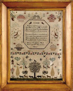 Silk on gauze sampler dated 1805