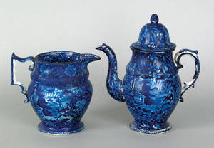Historical blue Staffordshire coffee pot and pitcher 19th c