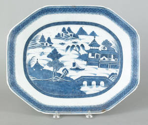 Chinese export Canton porcelain platter 19th c