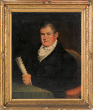 Oil on canvas portrait of Pennsylvania Governor Joseph Hiester early 19th c
