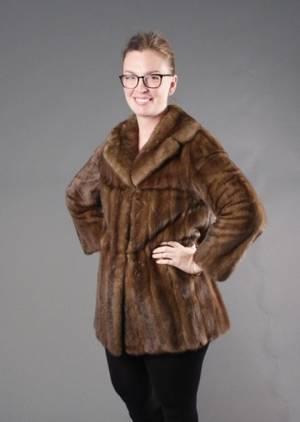Short Light Brown Mink Womens Coat
