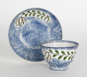 Blue spatter cup and saucer 19th c