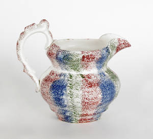Red blue and green rainbow spatter pitcher 19th c