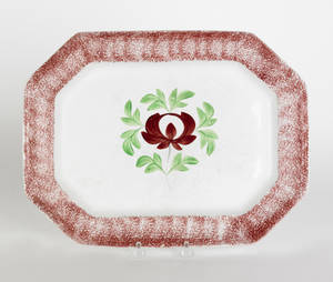 Red spatter platter with Adams Rose 19th c