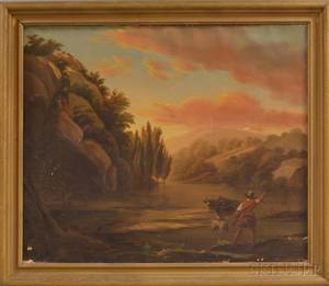 American School 19th Century Mountain Landscape with Man and Oxen