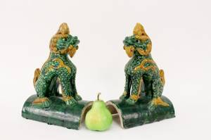 Pair of Chinese Foo Dog Roof Tiles