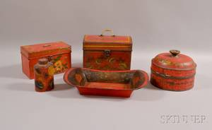 Five Pieces of Redpainted Toleware