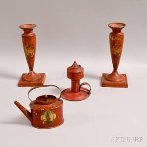 Pair of Tole Candlesticks a Chamberstick and a Miniature Teapot