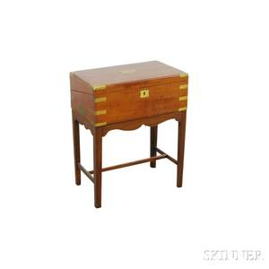 Brassmounted Mahogany Campaign Desk on Stand