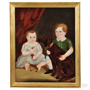 American School 19th Century Portrait of Two Children and Their Dog