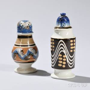 Two Mochadecorated Pearlware Pepper Pots