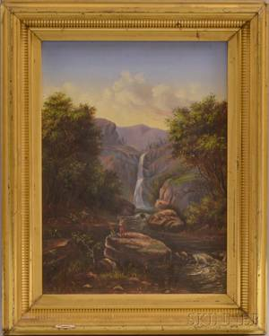 American School 20th Century Waterfall Landscape with Native Americans