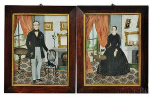 Pair of Watercolor and Gouache on Paper Portraits of a Man and Woman in Their Parlor