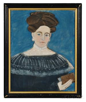 Attributed to Ruth W Shute 18031882 and Dr Samuel A Shute 18031836 Portrait of a Woman in a Black Dress Holding a Book