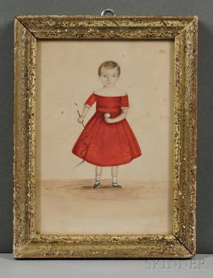 American School 19th Century Portrait of a Boy in a Red Dress Holding a Riding Crop and a Ball