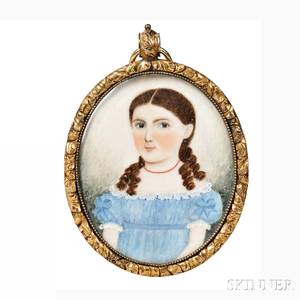American School c 183040 Portrait Miniature of a Girl in a Blue Dress