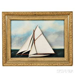 Carved and Painted Diorama of a Gaffrigged Yacht