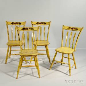 Set of Four Yellowpainted Windsor Side Chairs