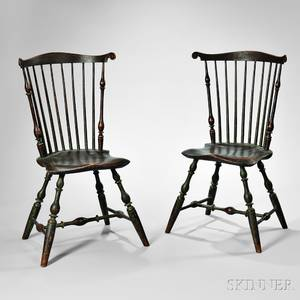 Fine Pair of Painted Fanback Windsor Side Chairs