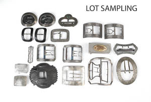 Group of sterling silver and other belt buckles