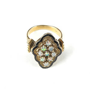14K yellow gold opal ring with a cluster of nine opals surrounded by black enamel