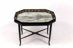 Hand Painted Tole Tray wWinter Scene 19th C