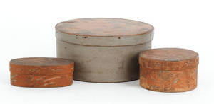 Three painted bentwood boxes 19th c