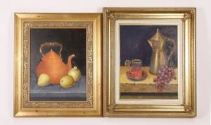 Group of Two Still Life Paintings Oil on Canvas