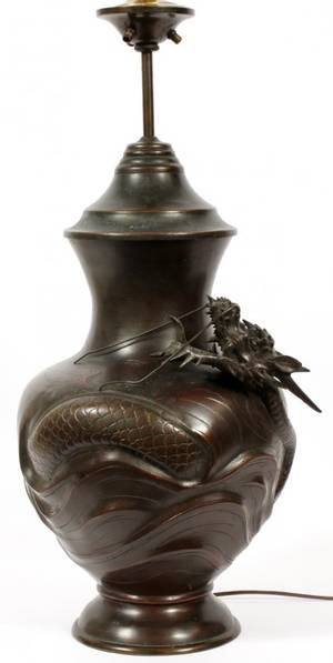 JAPANESE BRONZE DRAGON URN MOUNTED AS A LAMP