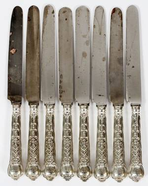 VICTORIAN STERLING HANDLE DINNER KNIVES LONDON