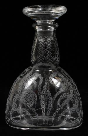 BACCARAT ETCHED GLASS DECANTER EARLY 20TH C