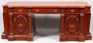 CARVED MAHOGANY PARTNERS DESK