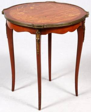 LOUIS XV STYLE MARQUETRY INLAID MAHOGANY TABLE