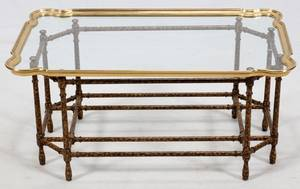 GLASS TOP COCKTAIL TABLE BRASS FRAME