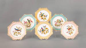 Set of six Derby porcelain plates with bird decoration
