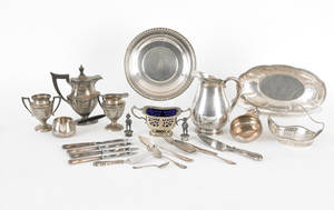 Group of sterling silver and plate to include water pitcher