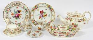 DRESDEN  STAFFORDSHIRE DISHES 15 PIECES